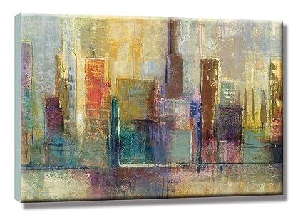 Girasol Arte La Abstracto Ciudad Edificios Pinturas Al óleo 100