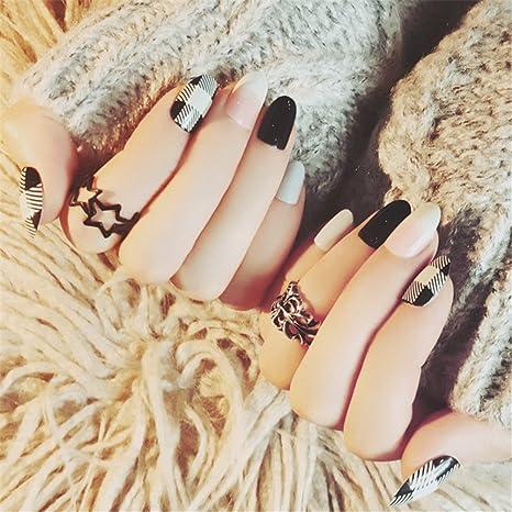 ... Blanco Negro Artificial Falso Uñas Longitud Perfecta Cubierta Completa Belleza Arte Decoración Manicura Pedicura para Mujeres Adolescentes Niñas 24 ...