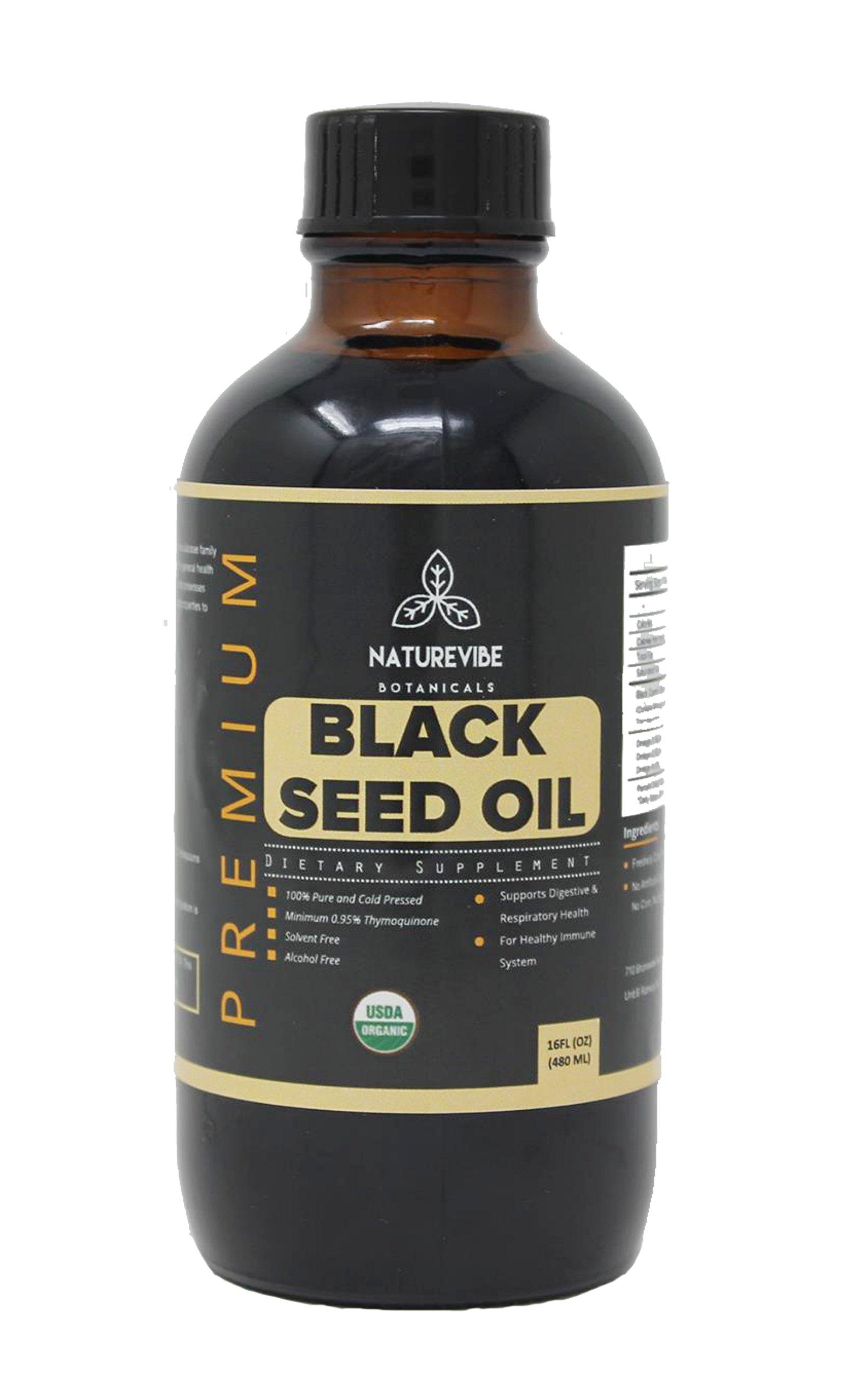 Naturevibe Botanicals Premium Organic Black Seed Oil (16 Ounce) | Cold Pressed Nigella Sativa, Thymoquinone | Gluten-Free & Non-GMO...