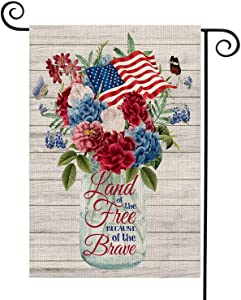 FIBEROMANCE Patriotic Rustic Floral Garden Flag 12x18 inches Home Land Brave Mason Jar Flower 4th of July Strip and Star American Flag Double Sided,Memorial Day Independence Day Outdoor Décor