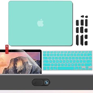 GMYLE - Paquete 4 en 1 Azul Turquesa: Carcasa para MacBook Pro de 13 pulgadas + Bolsa + Cubierta del teclado (US Layout) + Protectores de pantalla (No ...