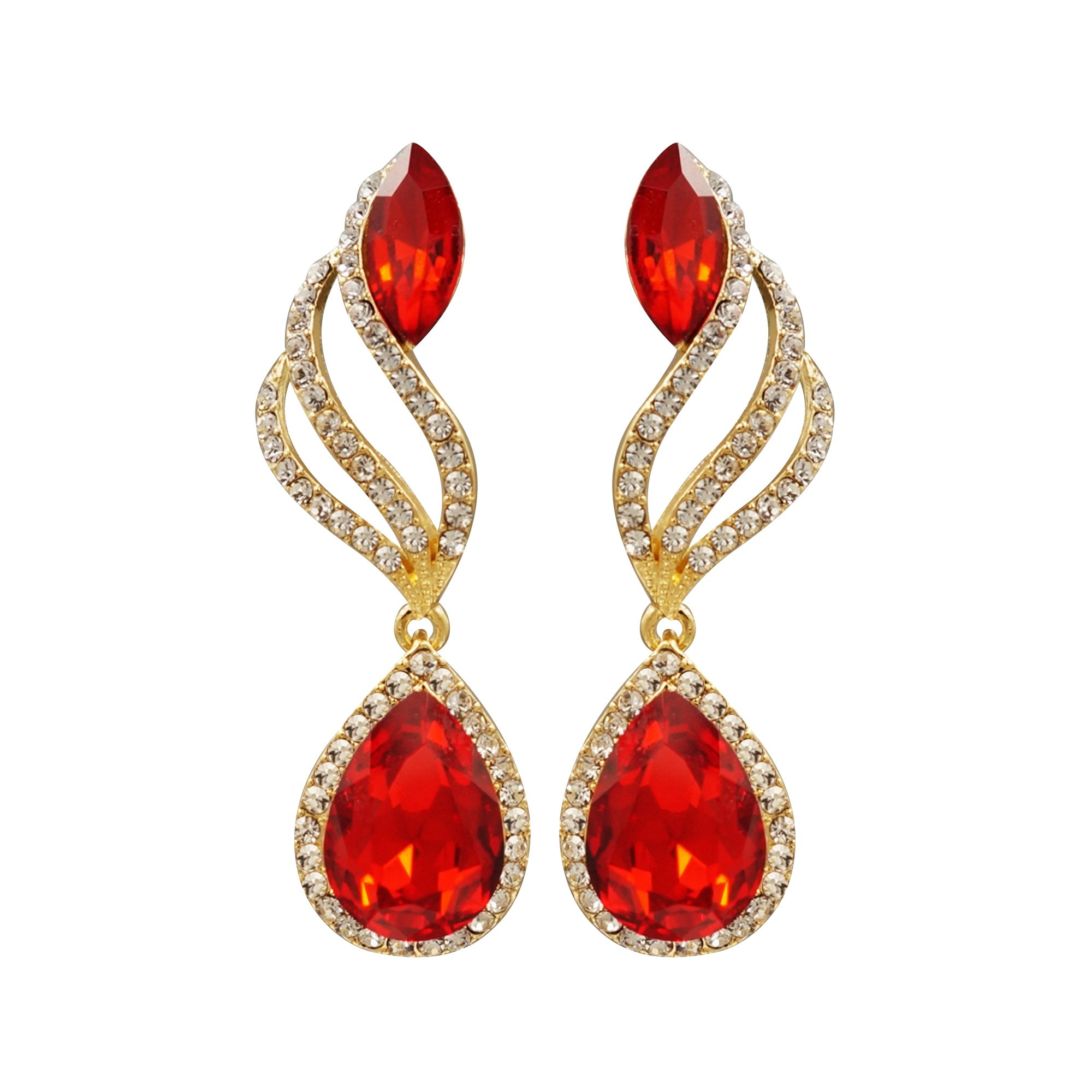 Iris Island Austrian Crystal Rhinestone Teardrop Red Dangle Earrings for Proms Weddings Party, Gold Tone