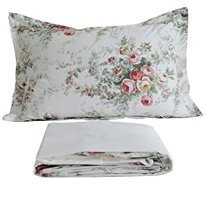 FADFAY Sheet Set Queen Vintage Rose 100% Cotton Hypoallergenic White and Grey Deep Pocket Fitted Sheet 4-Pieces Queen