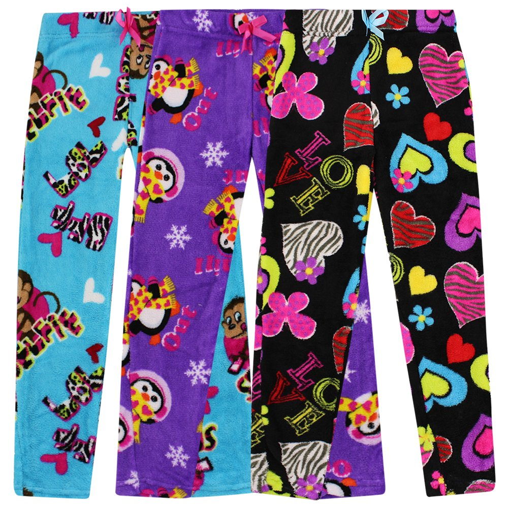 Totally Pink Pajama Bottoms for Girls - Pack of 3 in Assorted Prints - Size 7/8