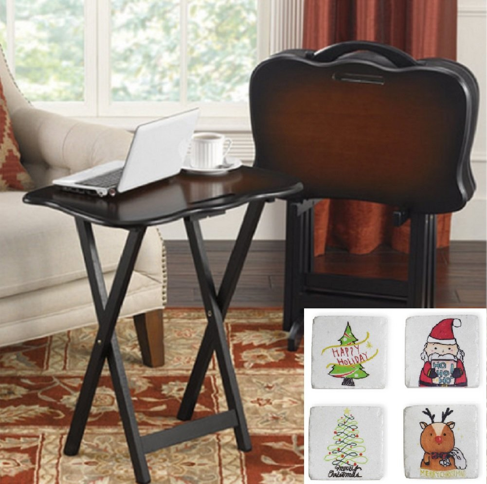 SNACK TABLE SET and Choice of Beverage Coaster Set Bonus, Portable TV Trays With Stand and Handle (Whimsical Christmas)