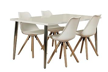 Dynamic24 5tlg Essgruppe Esstisch 90x160 Esszimmer Holz Stuhl Stuhle