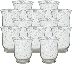 Just Artifacts Mercury Glass Hurricane Votive Candle Holder 3.5-Inch (12pcs, Speckled Silver) - Mercury Glass Votive Tealight Candle Holders for Weddings, Parties and Home Decor