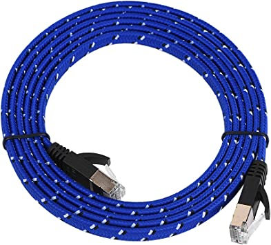 Computer for Modem 2Pcs 10 Feet Cat7 Flat Ethernet Patch Cables LAN Router