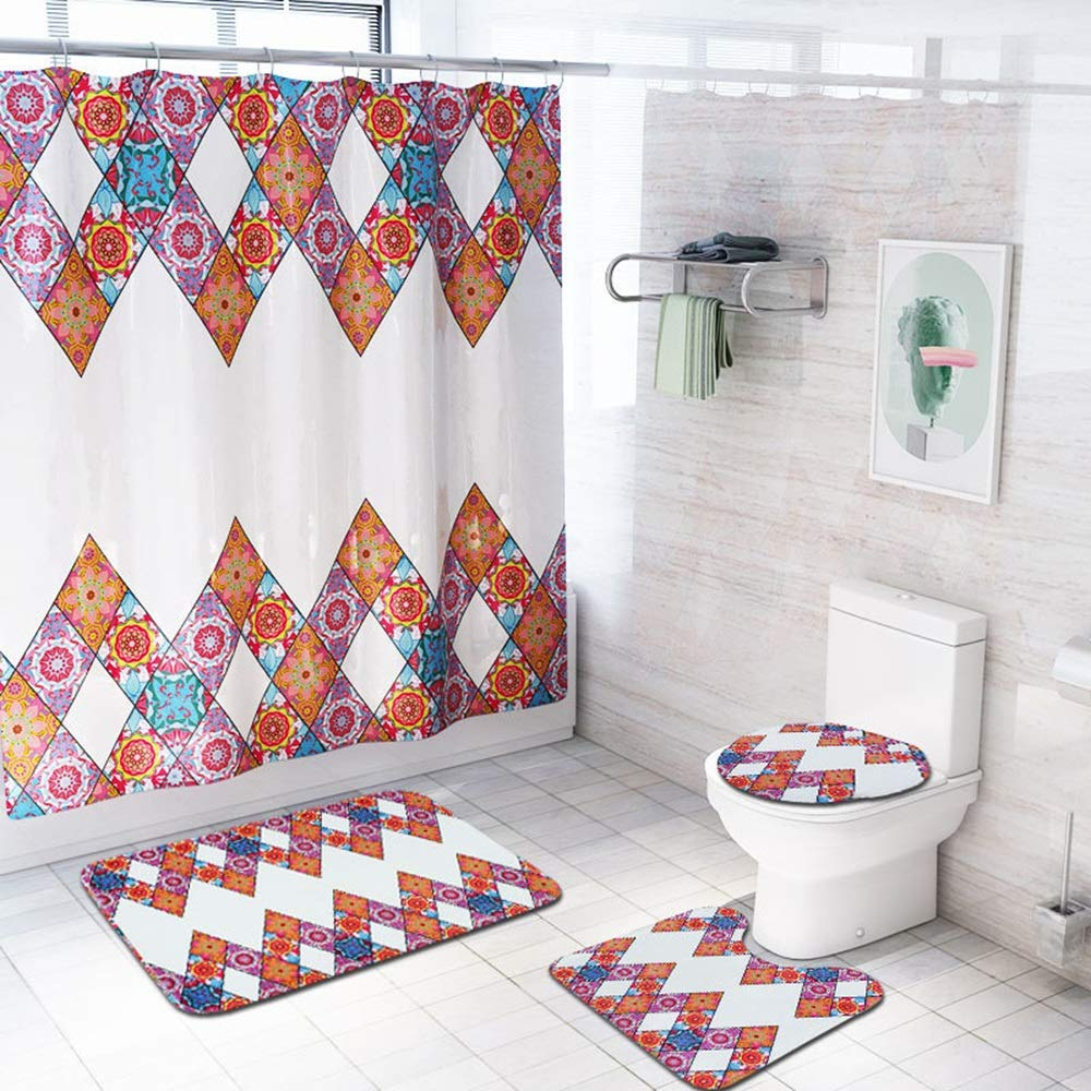 ETH European Bohemian Shower Curtain Floor Mat Bathroom Toilet Seat Four-Piece Carpet Water Absorption Does Not Fade Versatile Comfortable Bathroom Mat Can Be Machine Washed Durable by ETH