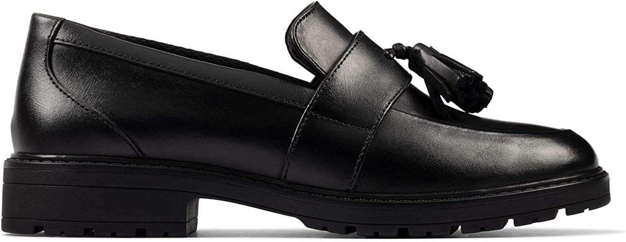 Clarks Loxham Loafer Youth Leather Shoes in Black