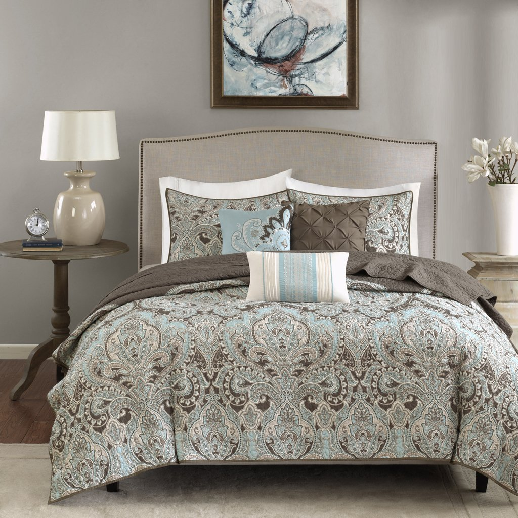 Madison Park Geneva Full/Queen Size Quilt Bedding Set - Aqua, Brown, Damask – 6 Piece Bedding Quilt Coverlets – Ultra Soft Microfiber Bed Quilts Quilted Coverlet