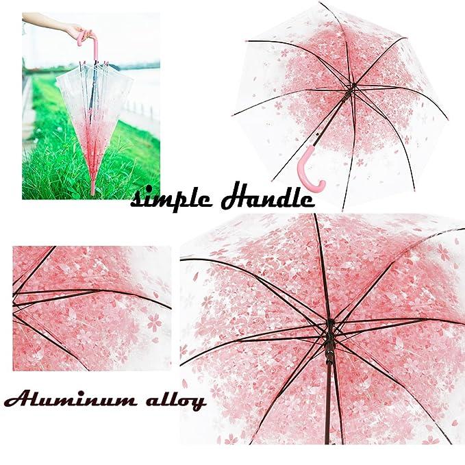Paraguas Transparente,Flores de Cerezo Semi-automática de Mango Largo Paraguas Viento Impermeable (Rosa): Amazon.es: Equipaje