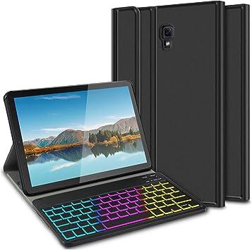 ELTD Funda con Teclado Español Ñ para Samsung Tab S4 T830/T835 10.5 Pulgadas, Teclado inalámbrico 7 Colores Cubierta de Teclado retroiluminada de Tres particiones, (Negro): Amazon.es: Electrónica