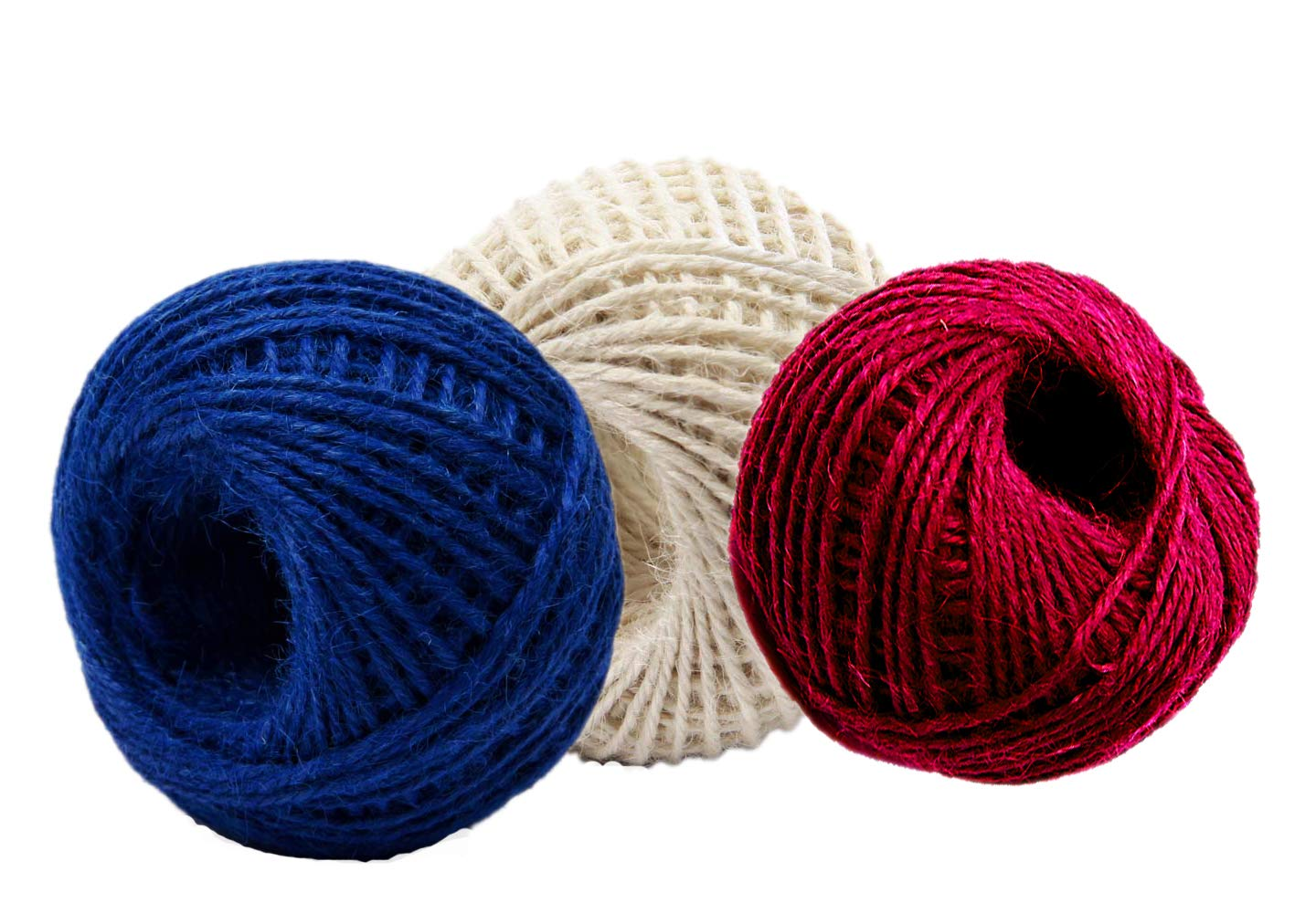 AAYU Brand Premium Burlap Patriotic Colored Jute Twine, 3 Pack | Red+Ivory+Blue | 4ply of 450ft | Heavy Twine