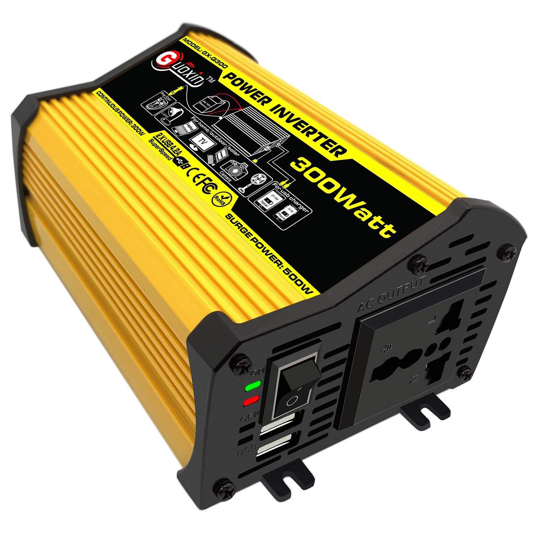Giallo T300W GUOXIN Power Inverter 12V 220V 300W 500W Inverter Auto Invertitore di Potenza Trasformatore di Potenza Convertitore DC 12V in AC 220V 230V 240V Schermo LCD Display USB Caricatore