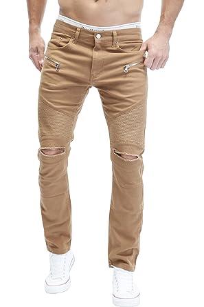 MERISH 5-Pocket Biker Denim Jeans Slim Fit Biker Rip Panel Ripped Knee  Modell J67 2f244b350449