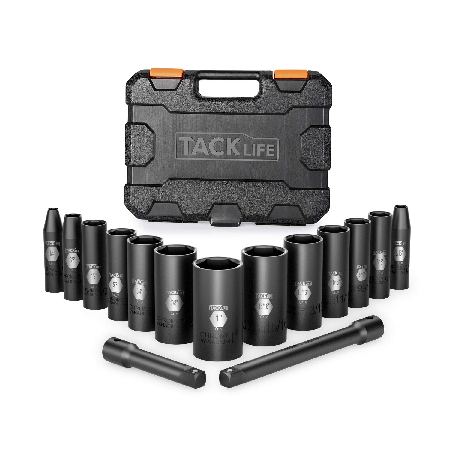 CR-V Steel Heavy Duty Storage Case 6-Point Tacklife 3//8-Inch Drive Deep Impact Socket Set 15pcs 3 and 6 extensions -HIS5A SAE