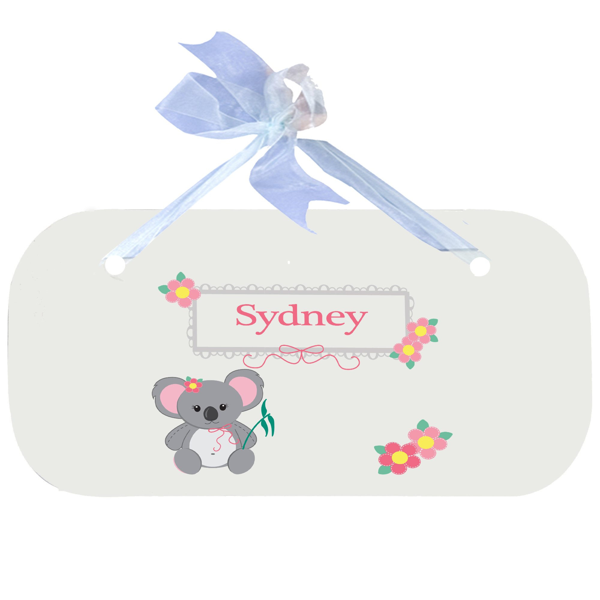 Personalized Koala Bear Nursery Door Hanger Plaque with Blue Ribbon