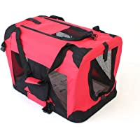 Pet Travel Carrier Soft Crate Portable Puppy Dog Cat Kitten Cage Kennel Home House Red (Medium 60x40cm)