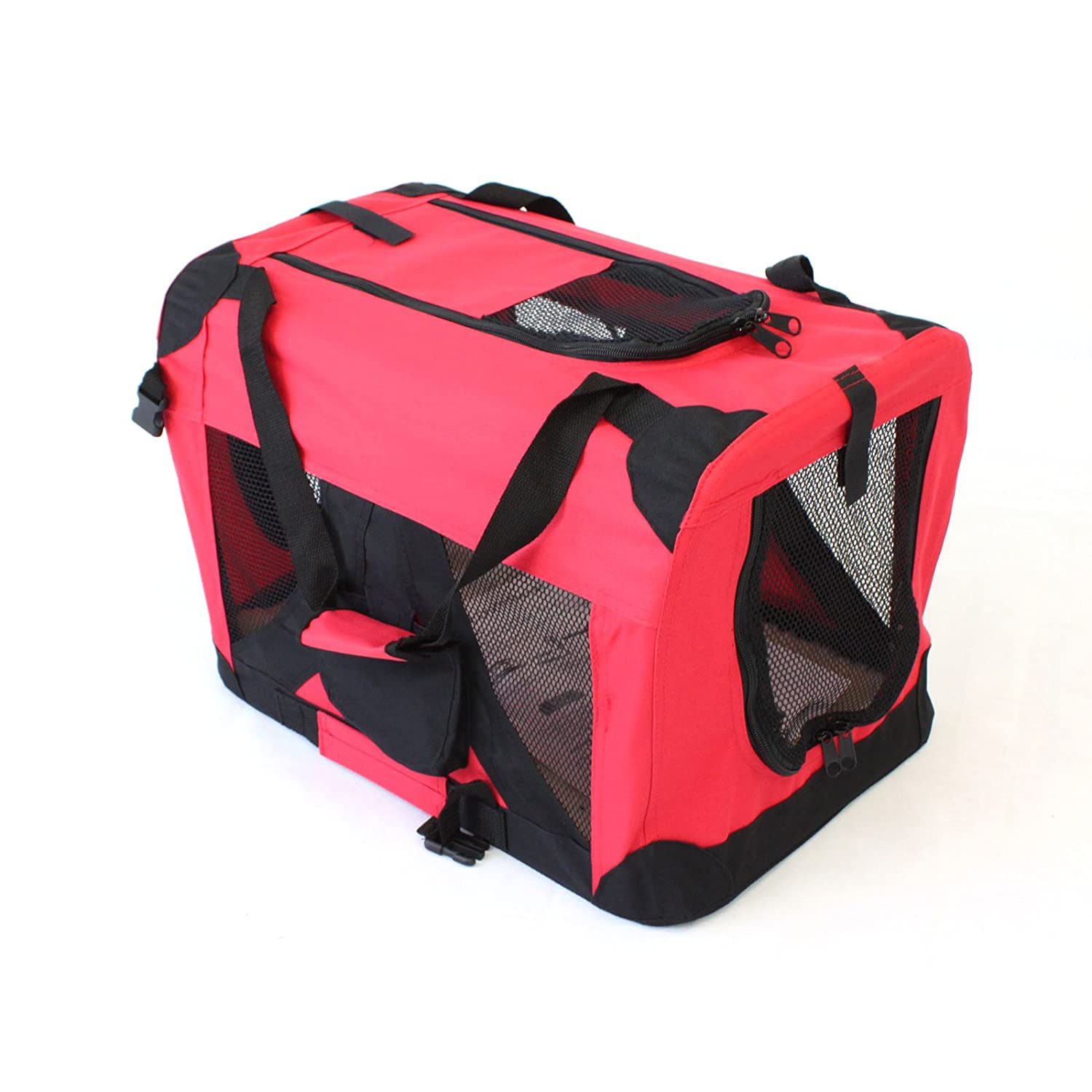 Medium 60x40cm Pet Travel Carrier Soft Crate Portable Puppy Dog Cat Kitten Cage Kennel Home House Red (Medium 60x40cm)