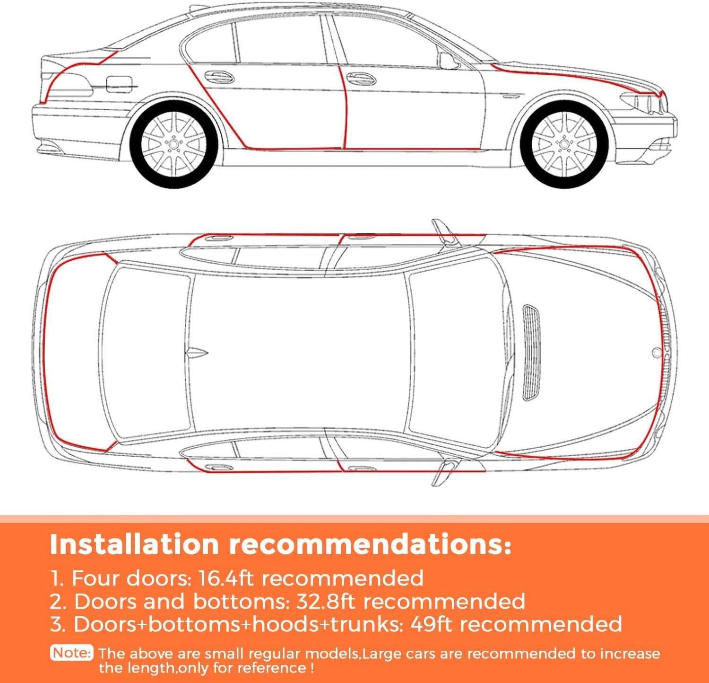 blanc adapt/é aux voitures SUV MPV et /à la plupart des mod/èles 5M Car Edge Trim Rubber Seal Pad de protection en forme de U