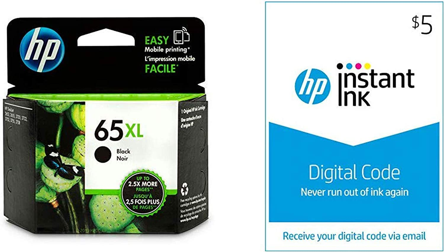 HP 65XL Ink | 1 Black Ink Cartridge | Plus $5 Instant Ink Prepaid Code
