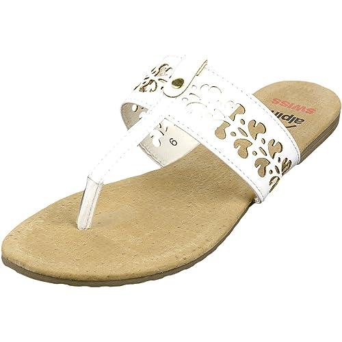 4513c0f72c8 alpine swiss Womens White Suede Lined Cutout T-Strap Flip Flop Thong Sandals  5 M