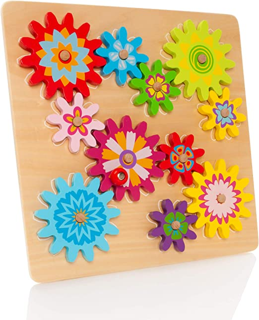 Milly & Ted Wooden Spinning Gears & Cogs Childrens Toddler Activity Puzzle Play Toy 18 Months +