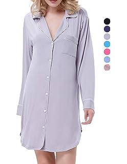 f6072665aa0 Zexxxy Nightgown Women Boyfriend Pajamas Long Sleeve Button Down Sleep  Shirts Dress S-XXL