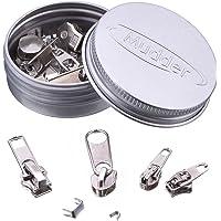 Pack 36 Fermeture à Glissière Onglet Remplacement Fermeture à Glissière kits de Réparation de Fermeture Éclair Outils de Réparation de Fermeture Éclair, Silver