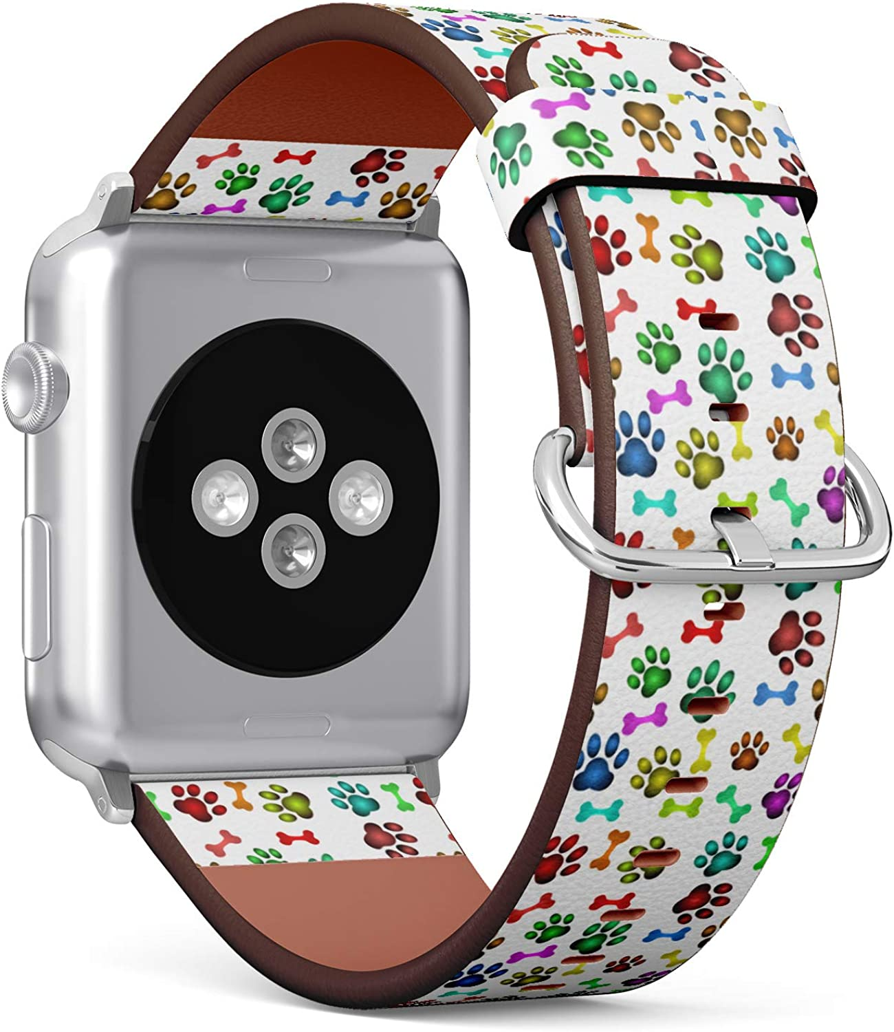 (Colorful Pattern with Dog paw and Bone) Patterned Leather Wristband Strap for Apple Watch Series 4/3/2/1 gen,Replacement for iWatch 38mm / 40mm Bands