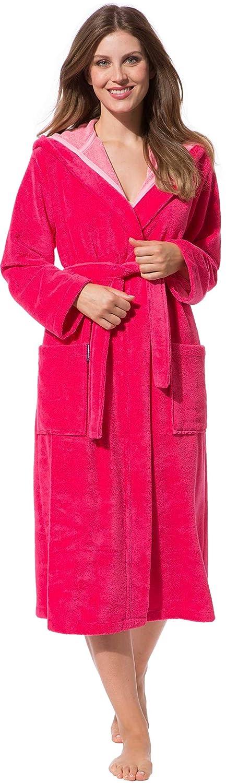 Morgenstern Bademantel Damen mit Kapuze in pink rosa lang