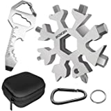 BIOSCEN Snowflake Multitool, 19-in-1 Stainless Steel Wrench Portable Hand Tool for Camping Travel Home with Keychain Key Ring