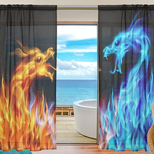 ALAZA U Life Fiery Blue Orange Dragon Patchwork Rod Pocket Sheer Voile Window Curtain Curtains 55 inch Wide x 84 inch Long Per Panel