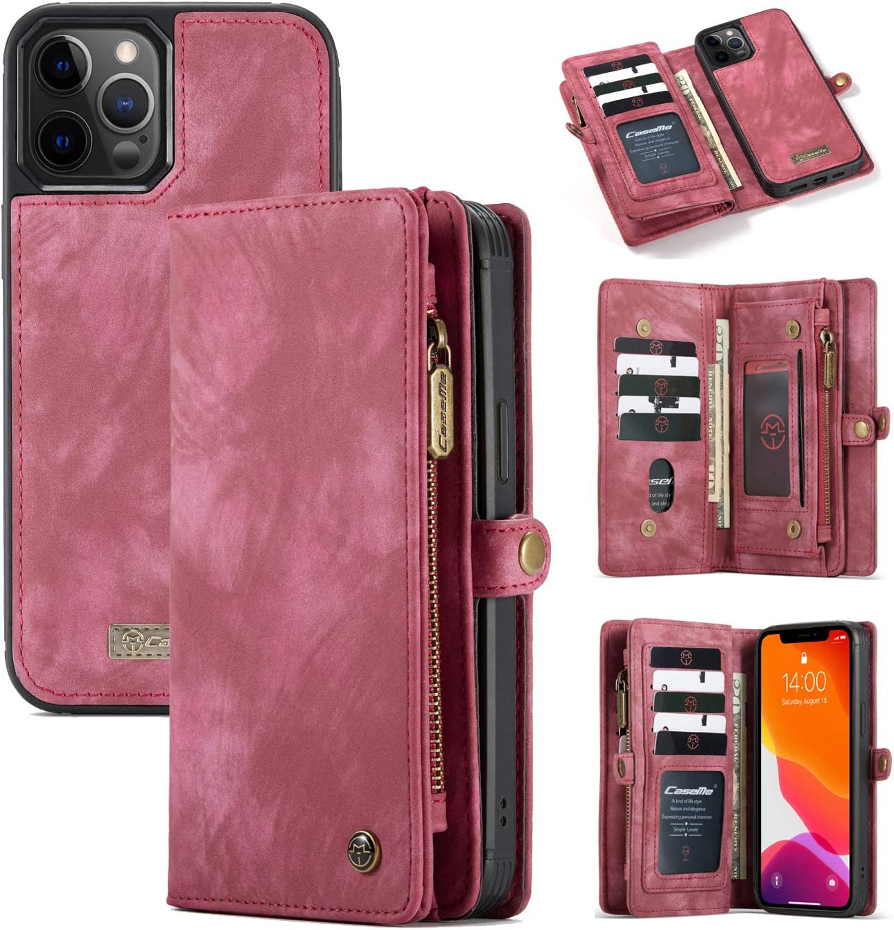 iPhone 12/12 Pro 6.1'' Wallet Case, AKHVRS Handmade Leather Zipper Wallet Case Flip Cover with 11 Multip ID Credit Card Slots Holder & Detachable Magnetic Phone Case for iPhone 12/12 Pro - Red