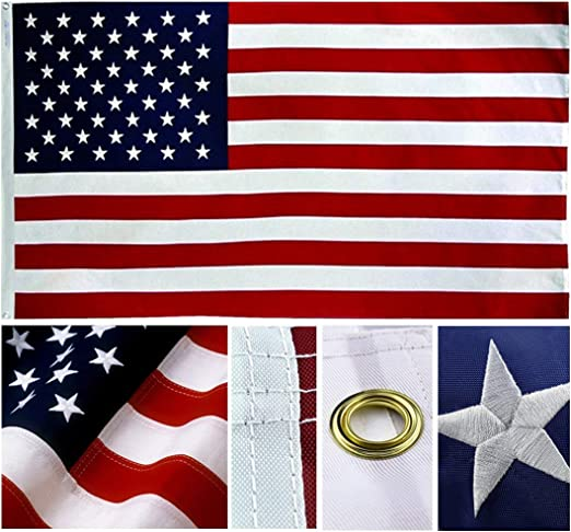 American USA US Flag 4x6 ft Nylon Embroidered Stars Sewn Stripes Brass Grommets