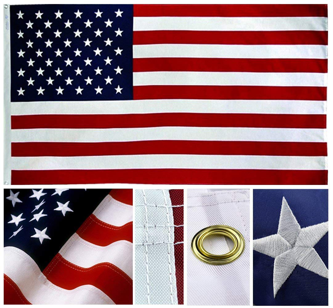 United States Navy Double Sided 210D Polyester Embroidered 4x6 Foot Flag Banner