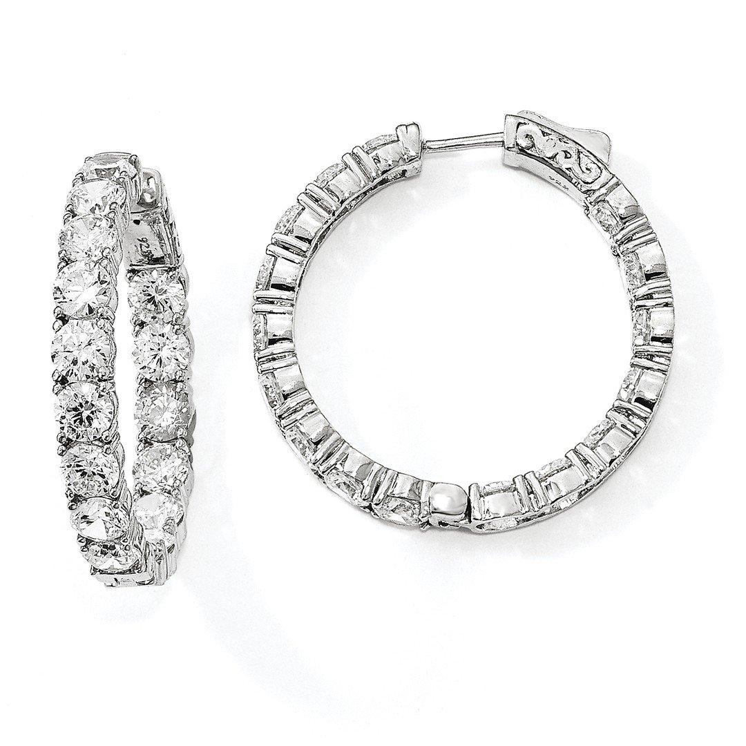 ICE CARATS 925 Sterling Silver Cubic Zirconia Cz In Out Round Hoop Earrings Ear Hoops Set Fine Jewelry Gift Set For Women Heart