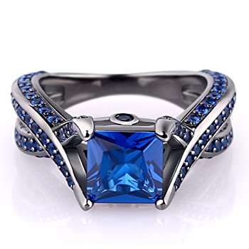 Black Sterling Silver 925 Princess-Cut Created Blue Sapphire Solitaire Wedding Engagement Ring Set
