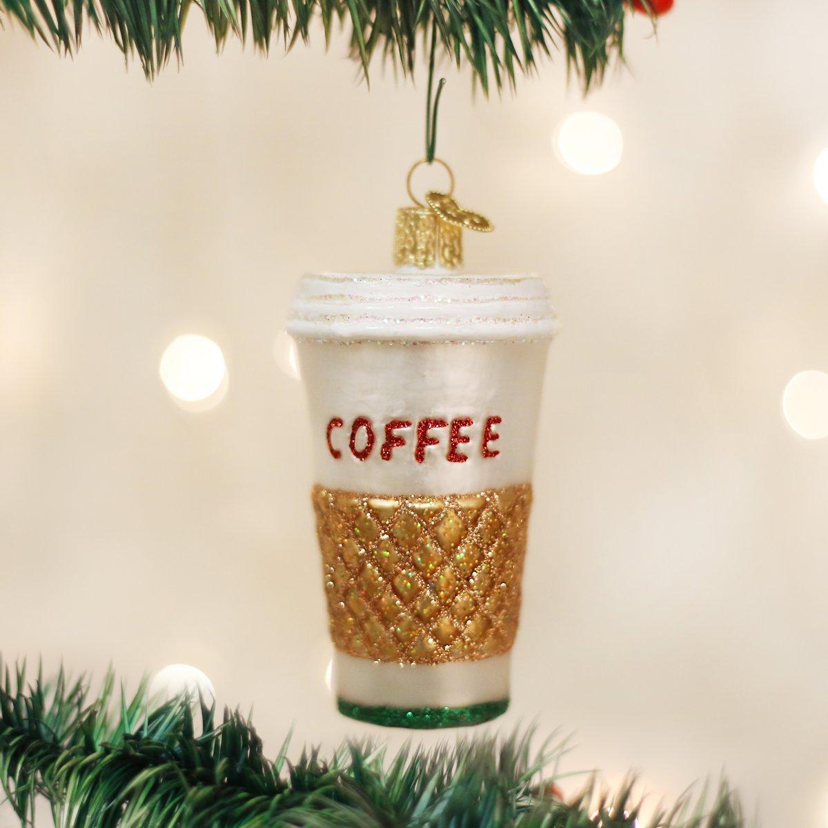 Amazon.com: Old World Christmas Coffee To Go Glass Blown Ornament ...