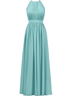 0666b5c60eb77 Alicepub Halter Illusion Bridesmaid Dress Chiffon Formal Evening Prom Gown  Maxi