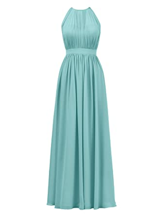 Alicepub Halter Illusion Bridesmaid Dress Chiffon Formal Evening Prom Gown Maxi, Aqua Blue, US2