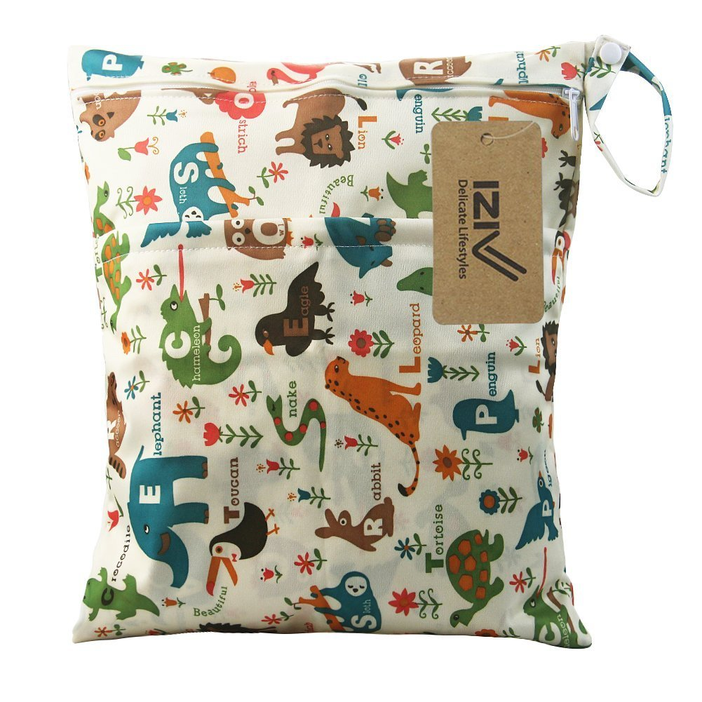iZiv(TM) Baby Waterproof Reusable Wet and Dry Baby Diaper Bag Organizer Pouch Double Zipper Printing Diaper Bag(Elephant) Dlife FD0054