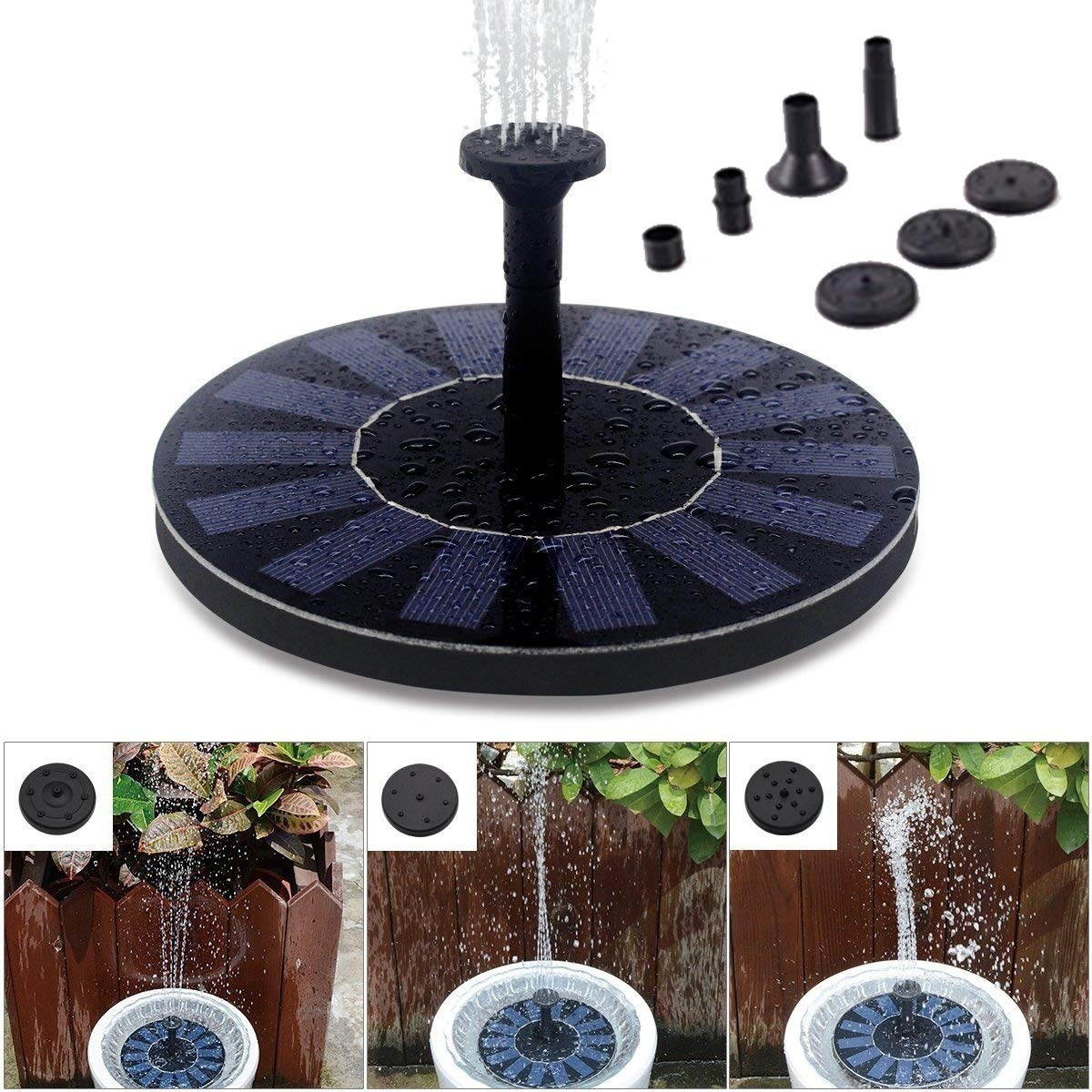 Solar Powered Fountain Pump, 1.4W Water Fountain Birdbath Solar Powered Pump, Waterproof, Free Standing, Submersible Outdoor Water Pump by GOBEAUTY