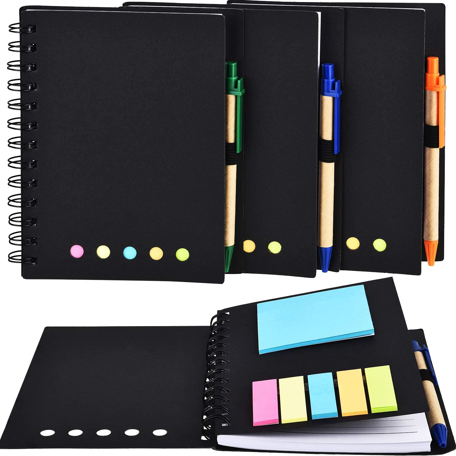 TOODOO 4 Packs Spiral Notebook Lined Notepad with Pen in Holder and Sticky Notes, Page Marker Colored Index Tabs Flags (Black Cover, Large)
