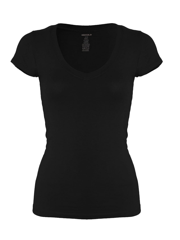 c1693a5755c7 Amazon.com: Bozzolo Women's Plain Basic V Neck Short Sleeve Cotton T-Shirts:  Clothing