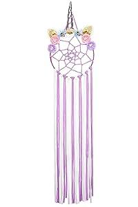 Unicorn Theme Hair Bows Holder,Flowers Headband Holder Hair Clips Organizer,Dream Catcher Wall Decor for Girls' Room,Hair Accessories Storage Hair Barrettes Organizer (Purple)