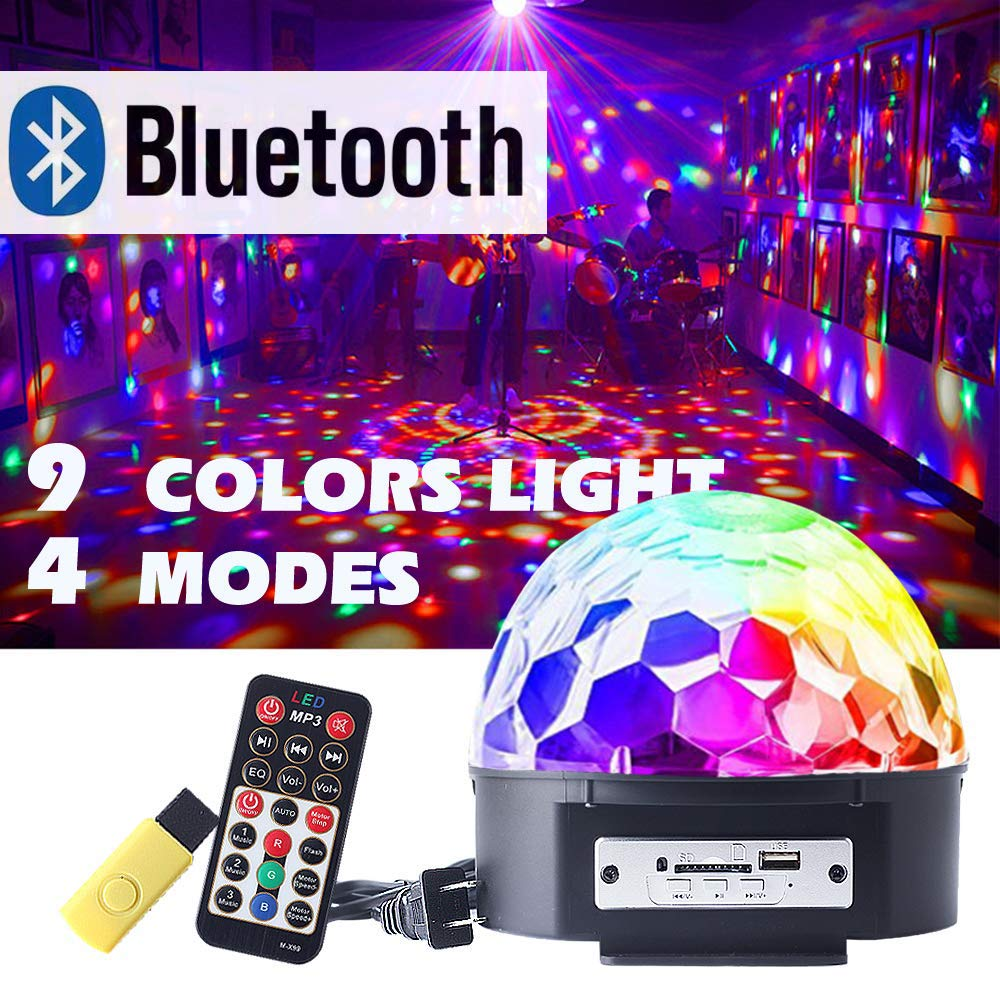 CHINLY Disco Ball Party DJ Lights 9 Colors Bluetooth Speaker Stage Rotating Strobe Light Sound Activated for Stage Performance Dance Party Club Birthday Wedding Karaoke Dance (with remote)