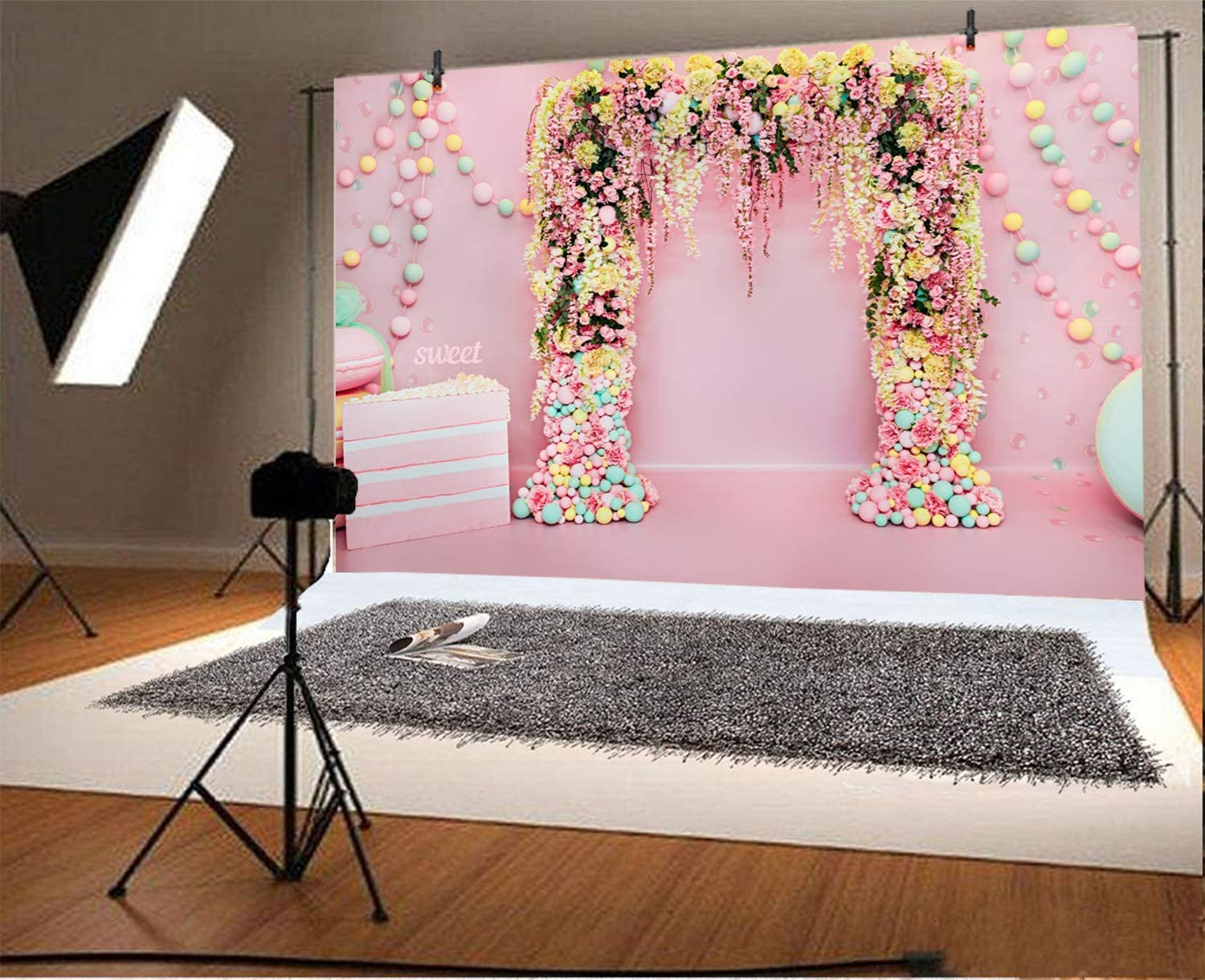 Wedding Backdrop 10x6.5ft Pink Sweet Theme Polyester Photography Background Cake Smash Colorful Flowers Balloons Lover Couple Girls Birthday Valentines Day Party Studio Photo Props Studio