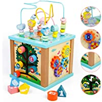 Fajiabao Cubo Actividades Bebe 5 en 1 - Cubos de Madera Juguetes Montessori Bebes 2 3 4 años Cubo de Actividad Juegos…